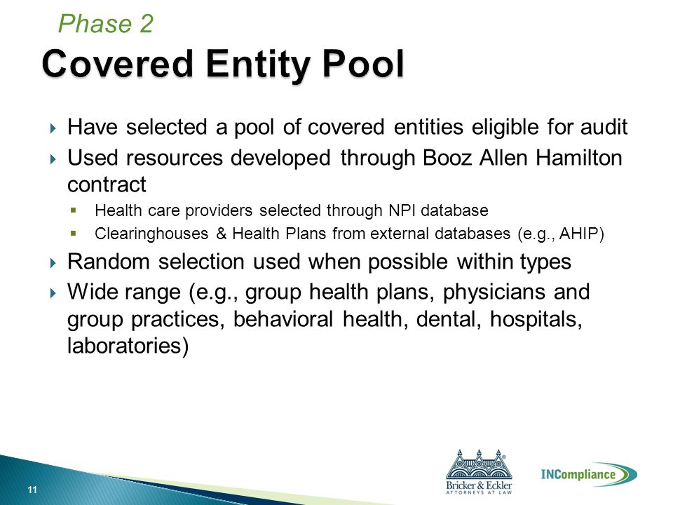  Have selected a pool of covered entities eligible for audit  Used resources developed through Booz Allen Hamilton contract  Health care providers selected through NPI database  Clearinghouses & Health Plans from external databases (e.g., AHIP)  Random selection used when possible within types  Wide range (e.g., group health plans, physicians and group practices, behavioral health, dental, hospitals, laboratories) Phase 2 11