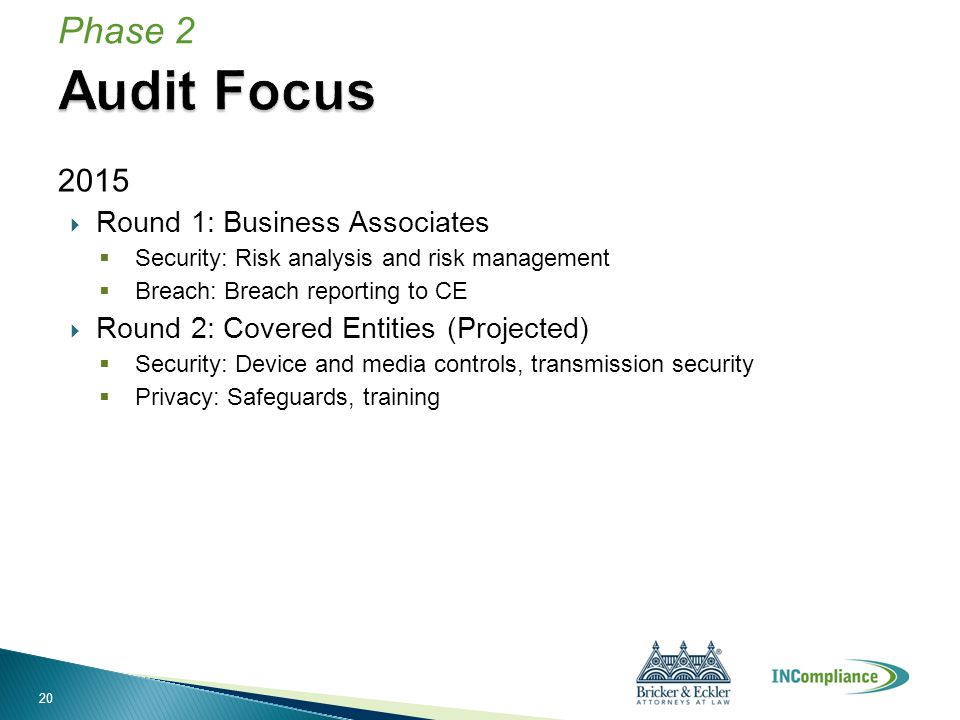 2015  Round 1: Business Associates  Security: Risk analysis and risk management  Breach: Breach reporting to CE  Round 2: Covered Entities (Projec
