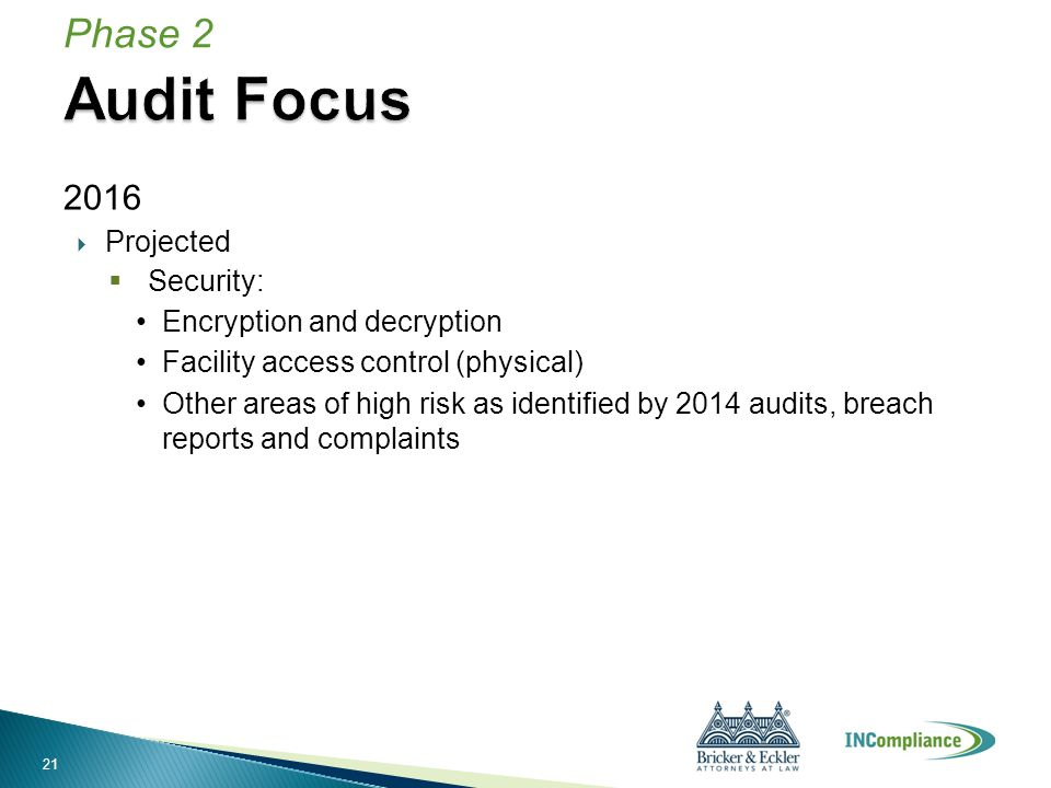 2016  Projected  Security: Encryption and decryption Facility access control (physical) Other areas of high risk as identified by 2014 audits, breac