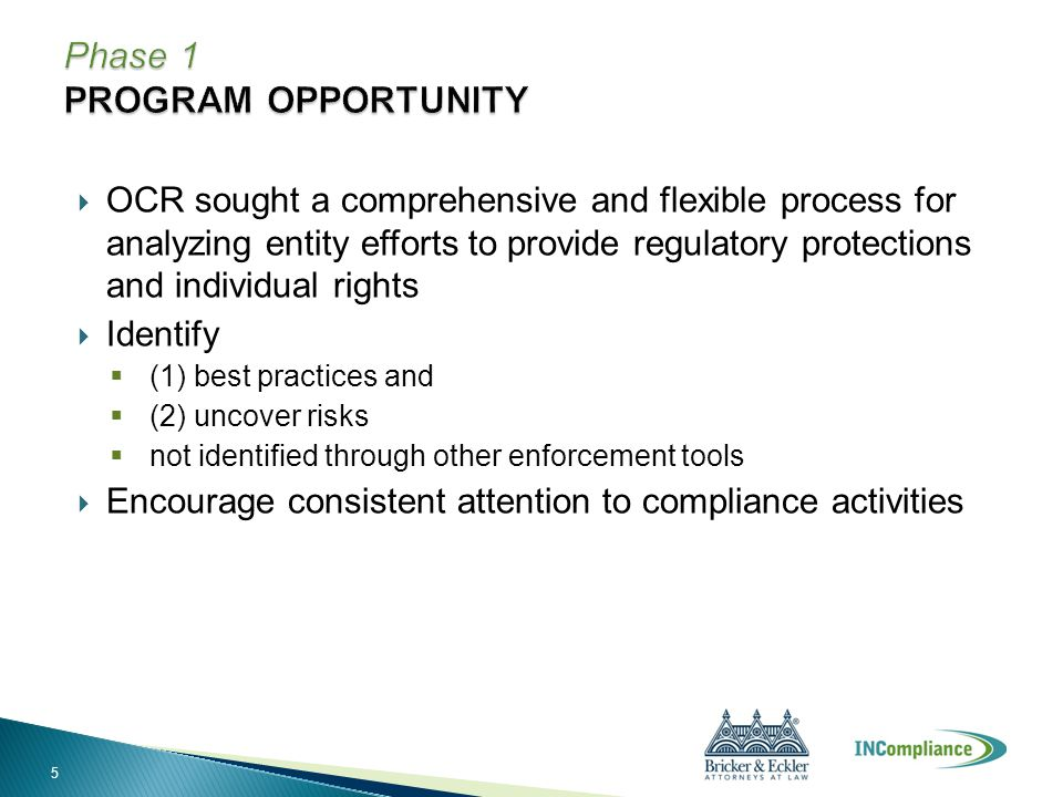  OCR sought a comprehensive and flexible process for analyzing entity efforts to provide regulatory protections and individual rights  Identify  (1) best practices and  (2) uncover risks  not identified through other enforcement tools  Encourage consistent attention to compliance activities 5