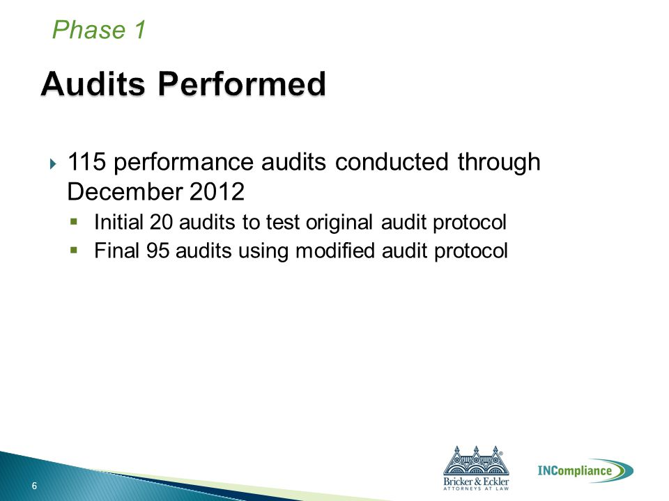  115 performance audits conducted through December 2012  Initial 20 audits to test original audit protocol  Final 95 audits using modified audit pr
