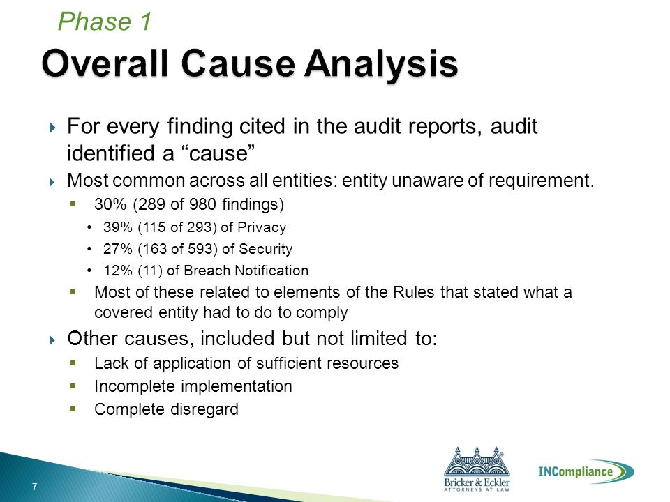  For every finding cited in the audit reports, audit identified a cause  Most common across all entities: entity unaware of requirement.
