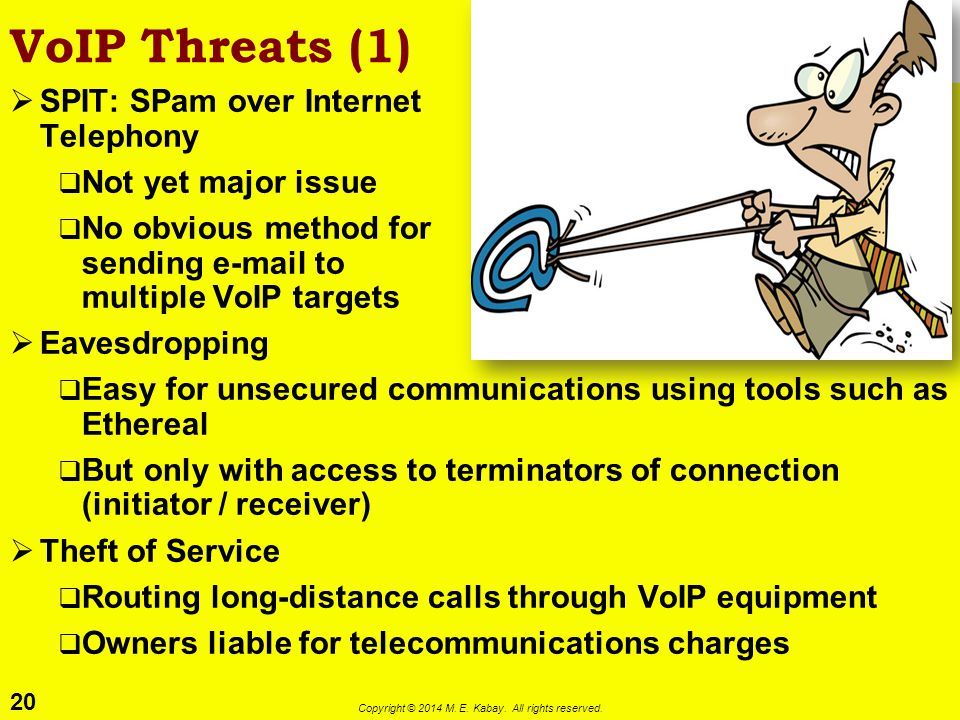 20 Copyright © 2014 M. E. Kabay. All rights reserved. VoIP Threats (1)  SPIT: SPam over Internet Telephony  Not yet major issue  No obvious method