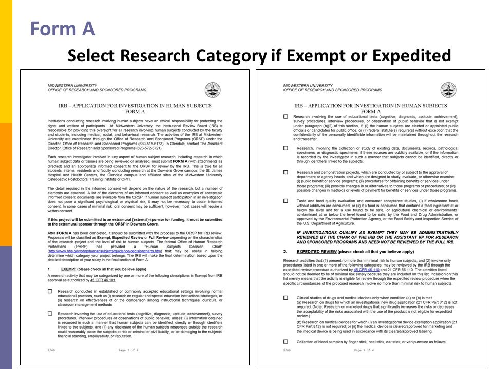 Form A Select Research Category if Exempt or Expedited