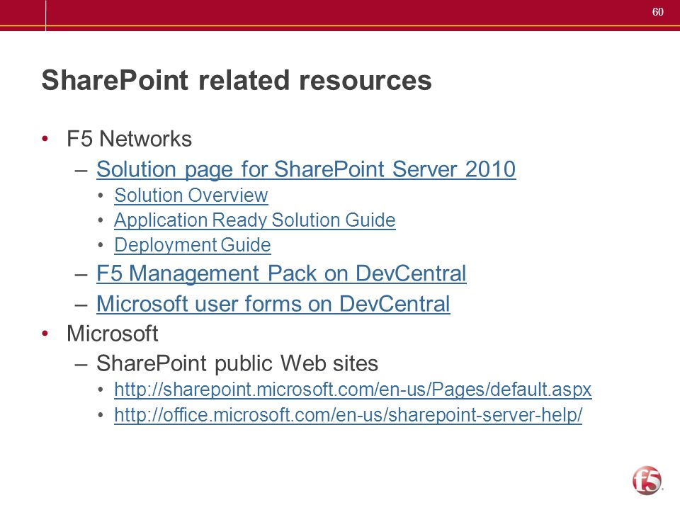60 SharePoint related resources F5 Networks –Solution page for SharePoint Server 2010Solution page for SharePoint Server 2010 Solution Overview Applic