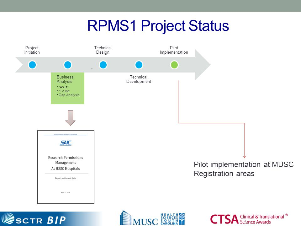 "BIP RPMS1 Project Status 12 Project Initiation Business Analysis ""As Is"" ""To Be"" Gap Analysis Technical Design Technical Development Pilot Implementat"