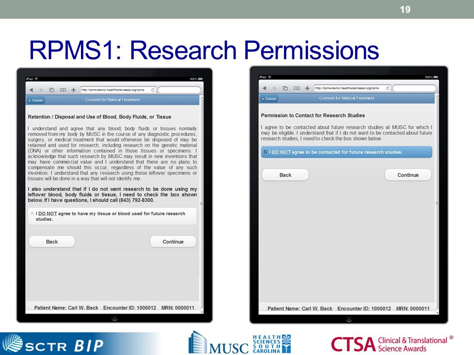 BIP RPMS1: Research Permissions 19