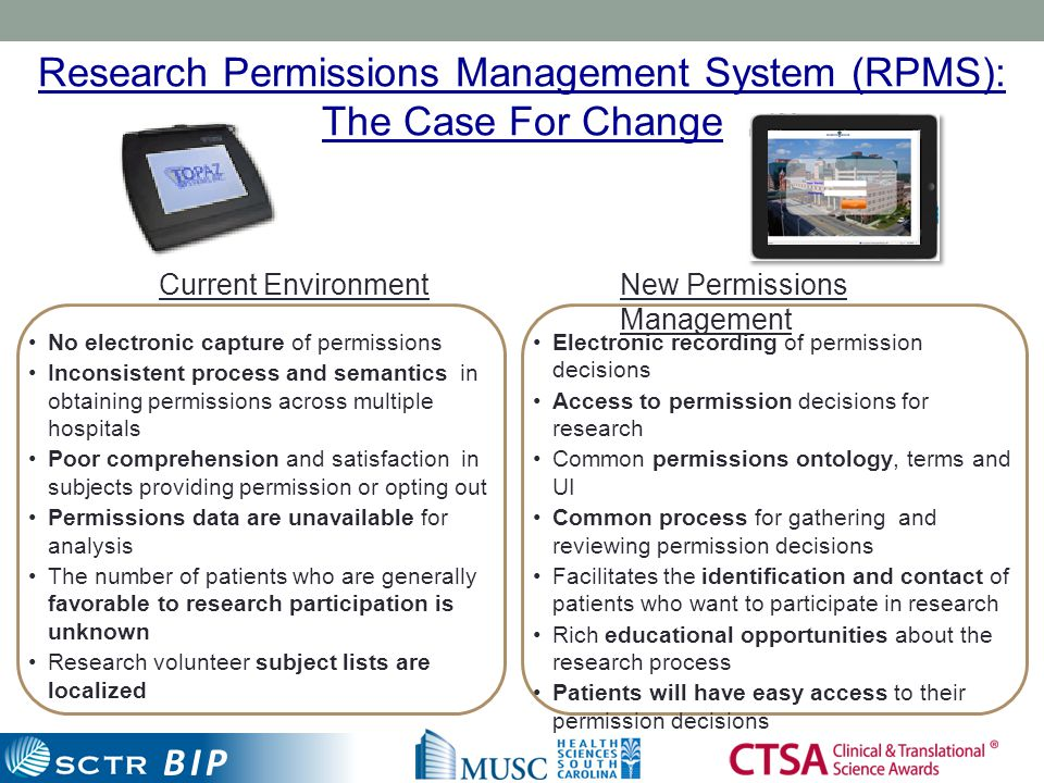 BIP Current EnvironmentNew Permissions Management No electronic capture of permissions Inconsistent process and semantics in obtaining permissions acr