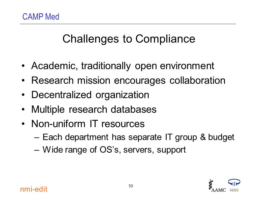 CAMP Med 10 Challenges to Compliance Academic, traditionally open environment Research mission encourages collaboration Decentralized organization Multiple research databases Non-uniform IT resources –Each department has separate IT group & budget –Wide range of OS's, servers, support