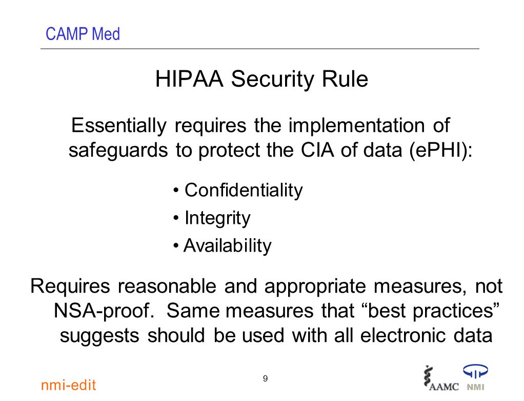 CAMP Med 9 HIPAA Security Rule Essentially requires the implementation of safeguards to protect the CIA of data (ePHI): Confidentiality Integrity Availability Requires reasonable and appropriate measures, not NSA-proof.