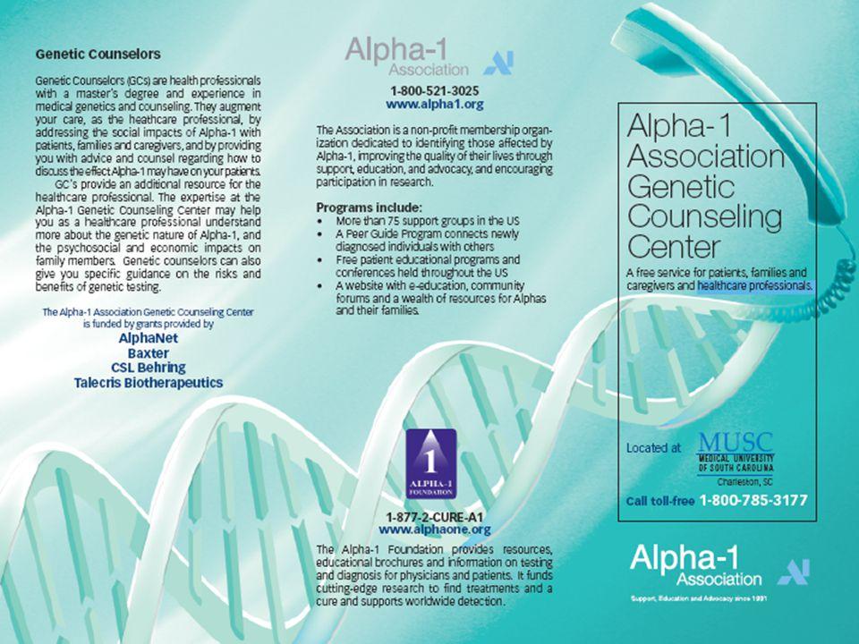 Alpha-1 Association Genetic Counseling Program MUSC Dawn McGee, MS, CGC 1-800-785-3177 mcgeeda@musc.edu