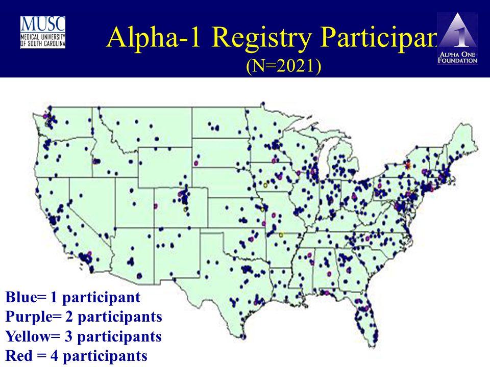 Alpha-1 Registry Participants (N=2021) Blue= 1 participant Purple= 2 participants Yellow= 3 participants Red = 4 participants