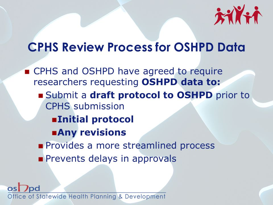CPHS Review Process for OSHPD Data CPHS and OSHPD have agreed to require researchers requesting OSHPD data to: Submit a draft protocol to OSHPD prior to CPHS submission Initial protocol Any revisions Provides a more streamlined process Prevents delays in approvals