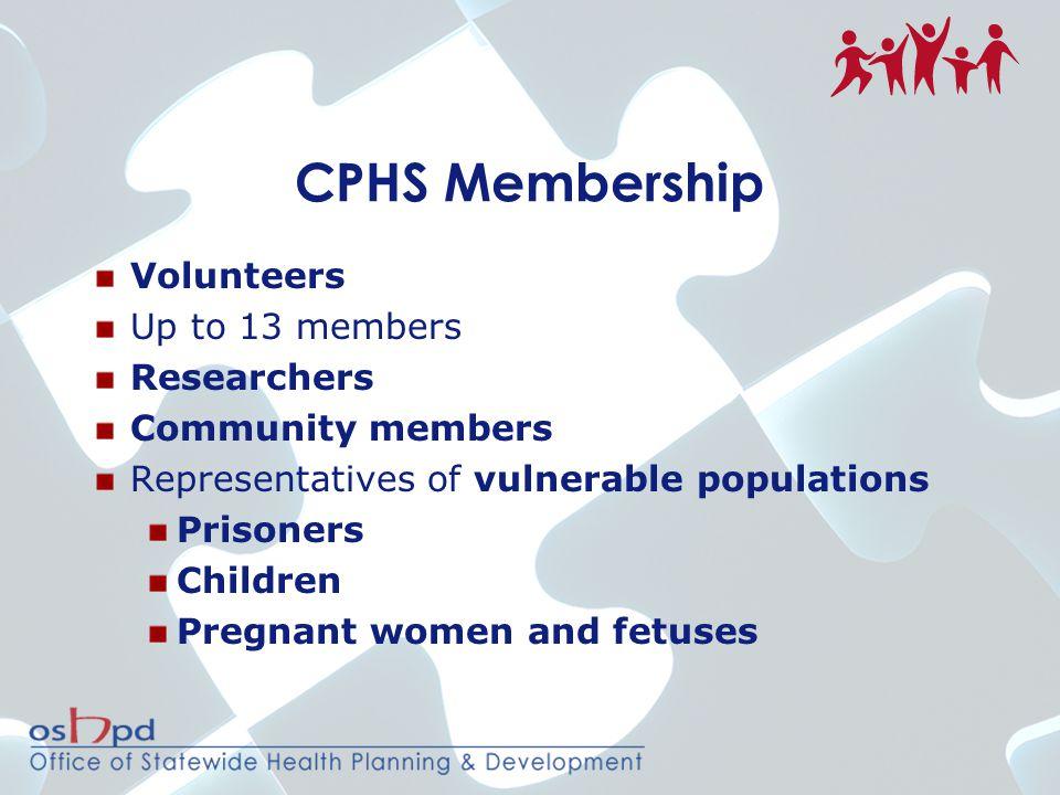 CPHS Membership Volunteers Up to 13 members Researchers Community members Representatives of vulnerable populations Prisoners Children Pregnant women and fetuses
