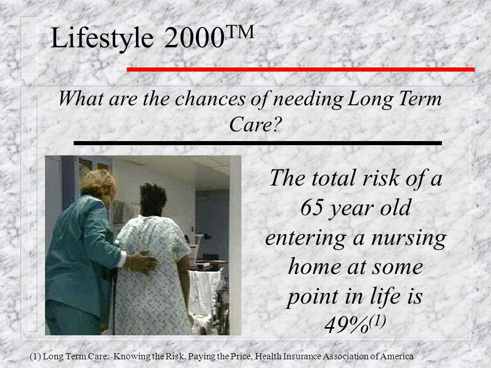 Lifestyle 2000 TM What are the chances of needing Long Term Care.