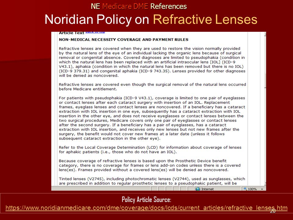 20 Noridian Policy on Refractive Lenses Policy Article Source: https://www.noridianmedicare.com/dme/coverage/docs/lcds/current_articles/refractive_lenses.htm https://www.noridianmedicare.com/dme/coverage/docs/lcds/current_articles/refractive_lenses.htm NE Medicare DME References