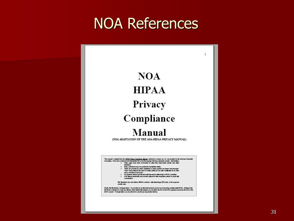 31 NOA References