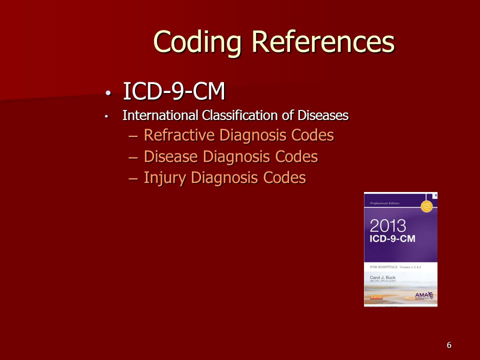 6 Coding References ICD-9-CM ICD-9-CM International Classification of Diseases International Classification of Diseases – Refractive Diagnosis Codes – Disease Diagnosis Codes – Injury Diagnosis Codes