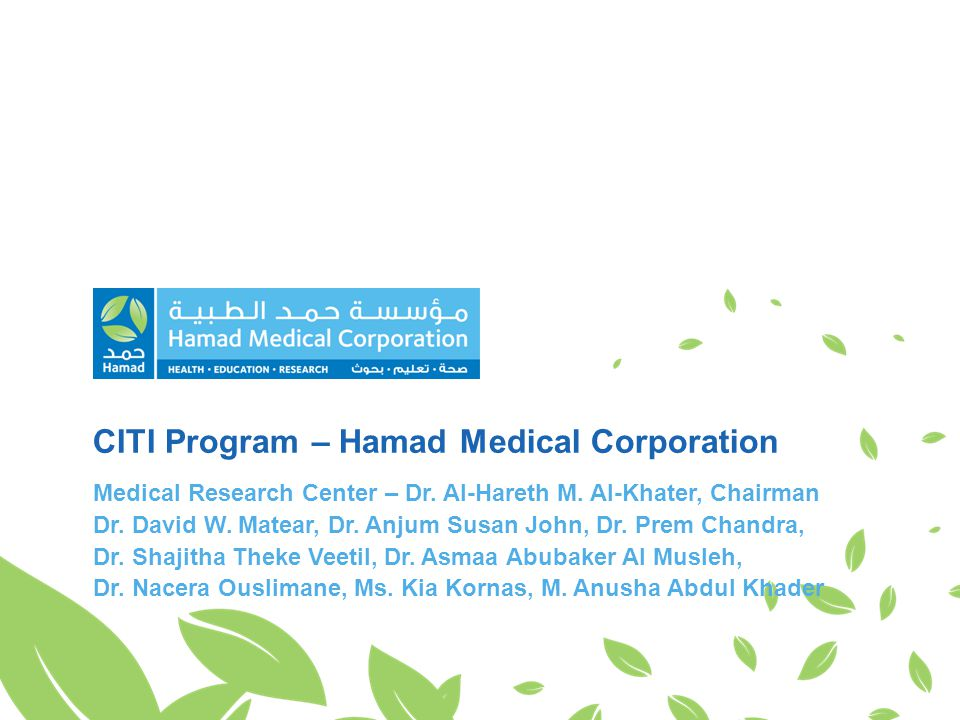 CITI Program – Hamad Medical Corporation Medical Research Center – Dr.