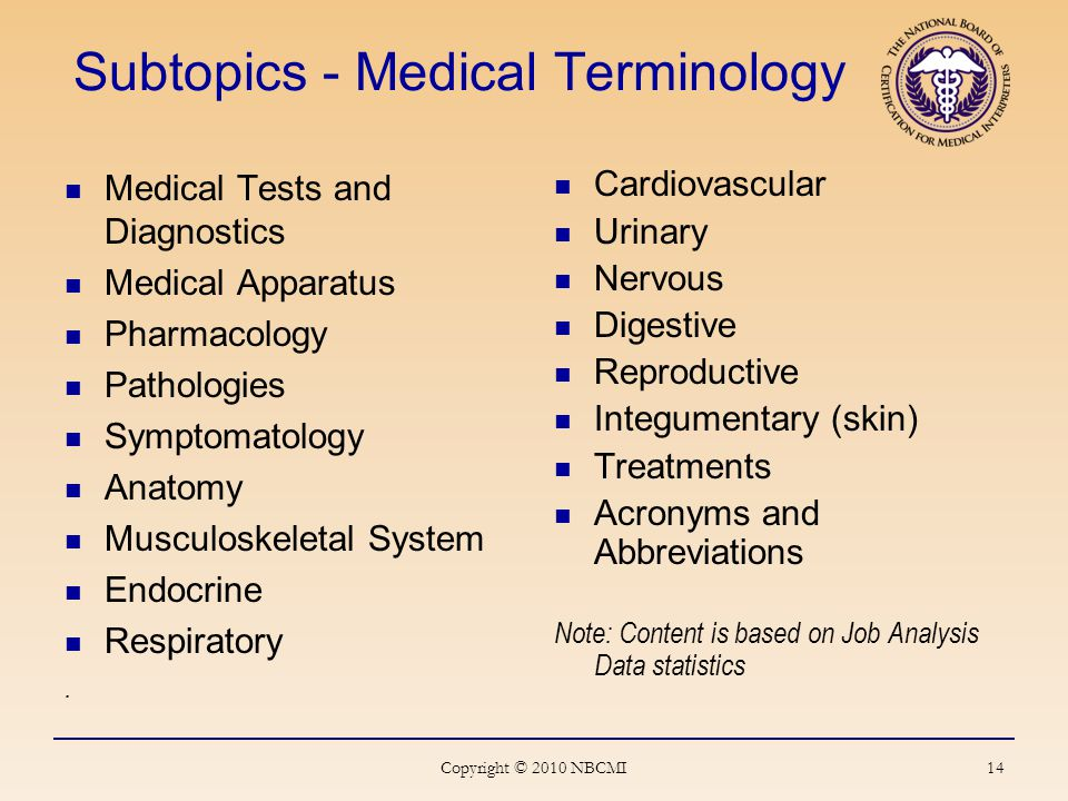 14 Subtopics - Medical Terminology Medical Tests and Diagnostics Medical Apparatus Pharmacology Pathologies Symptomatology Anatomy Musculoskeletal System Endocrine Respiratory.
