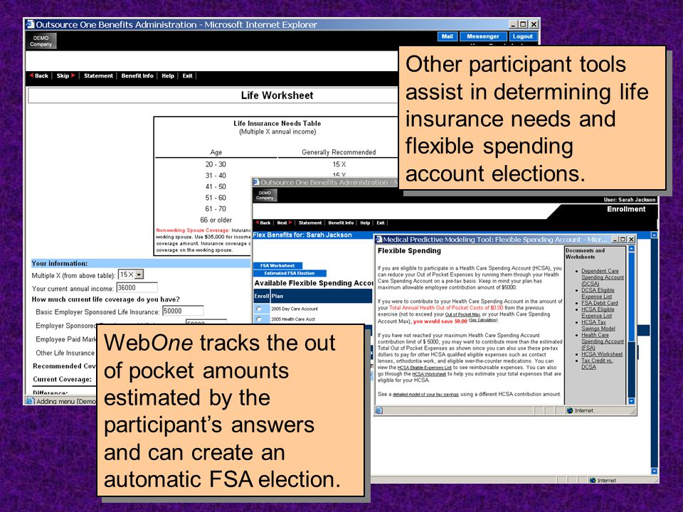 WebOne tracks the out of pocket amounts estimated by the participant's answers and can create an automatic FSA election. Other participant tools assis