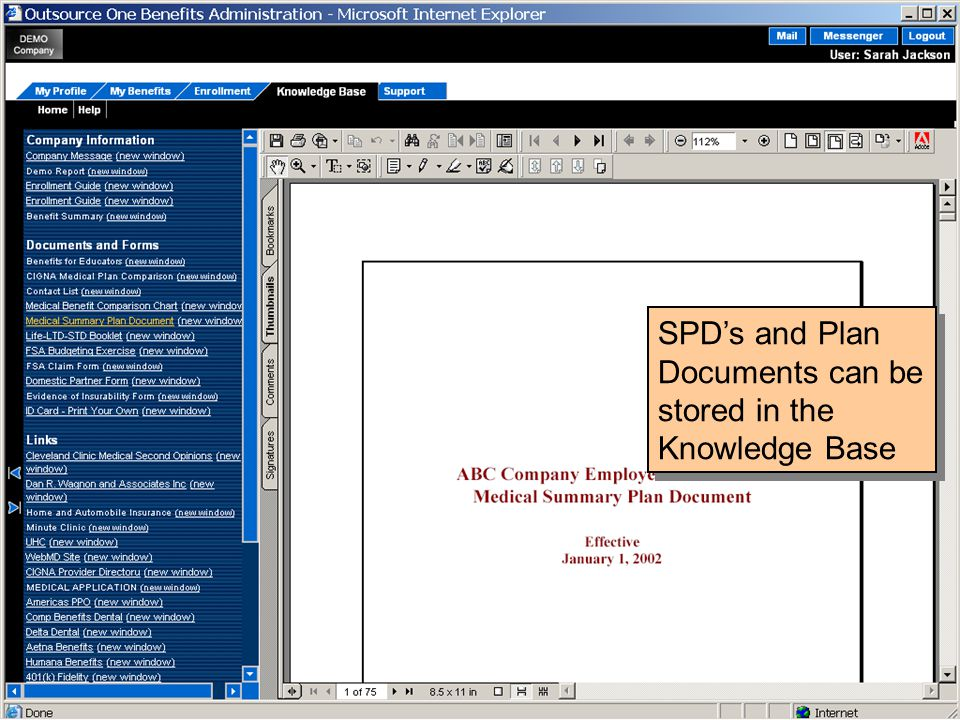 SPD's and Plan Documents can be stored in the Knowledge Base