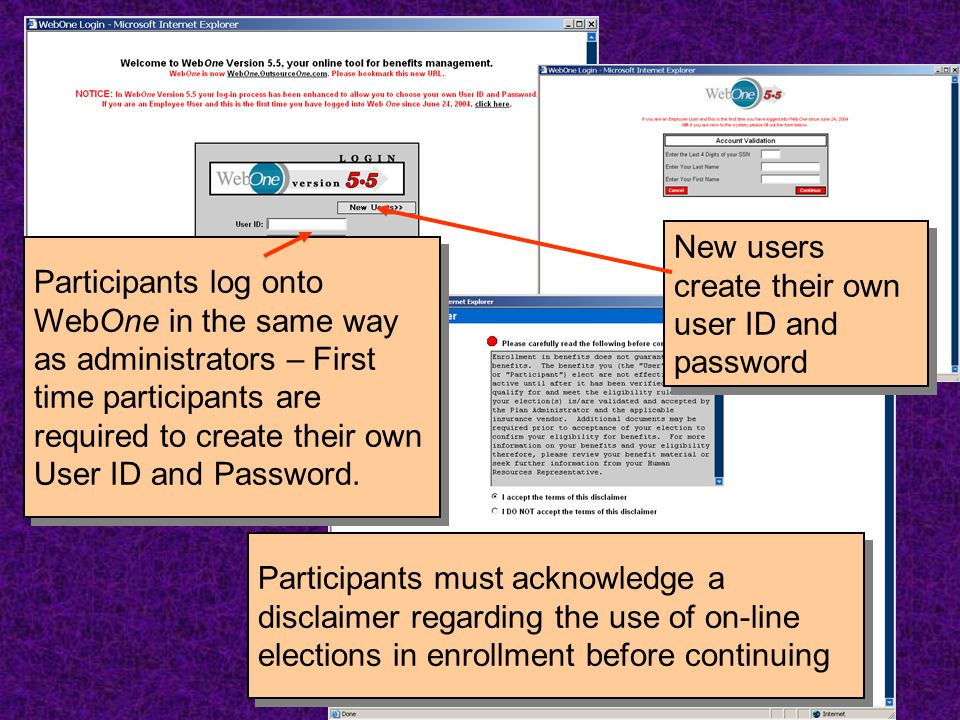 Participants log onto WebOne in the same way as administrators – First time participants are required to create their own User ID and Password. Partic