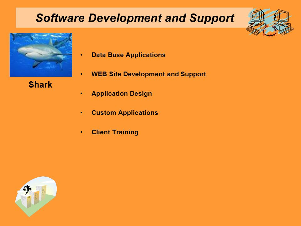 Software Development and Support Data Base Applications WEB Site Development and Support Application Design Custom Applications Client Training Shark