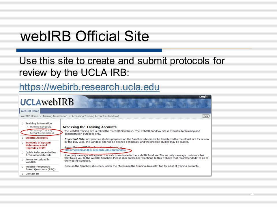 Update Profile (cont'd) Capitalized items come from the UCLA Employee Database Items on the profile will be available to the IRB for all of your future applications.
