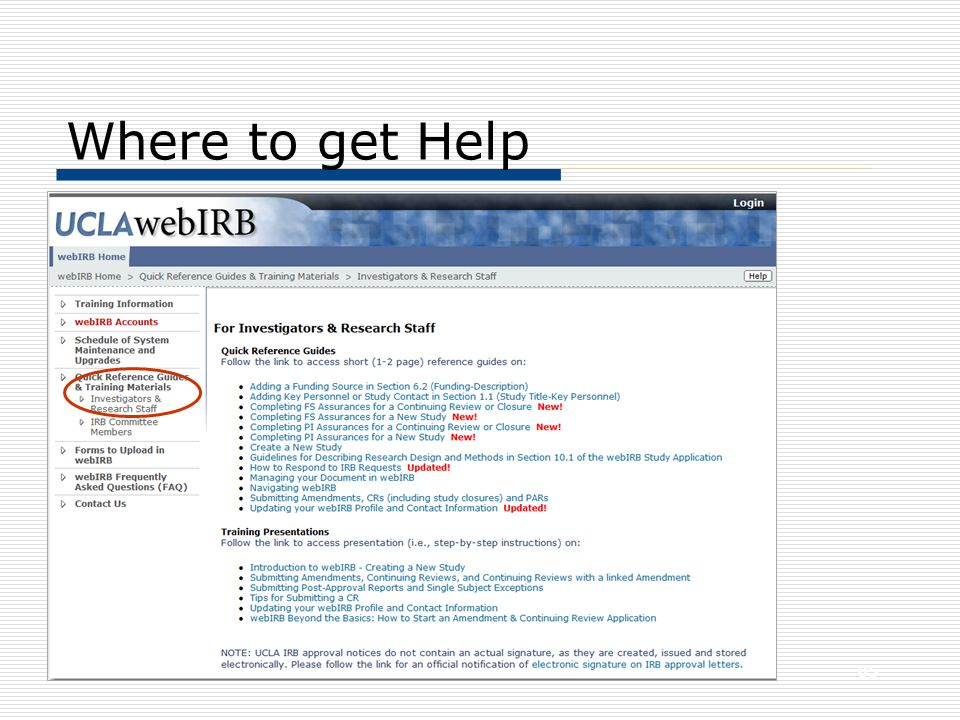 Where to get Help 85