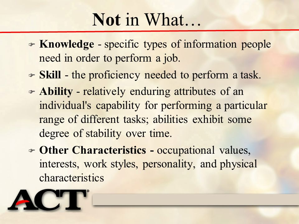 Practice – what skills do you see.