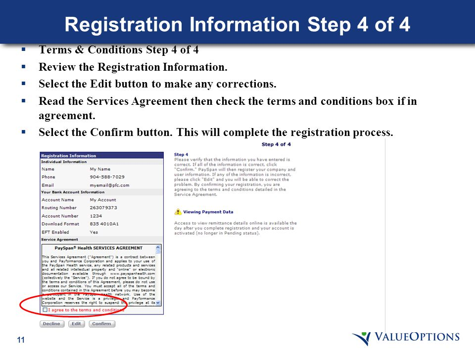 11 Registration Information Step 4 of 4  Terms & Conditions Step 4 of 4  Review the Registration Information.  Select the Edit button to make any c