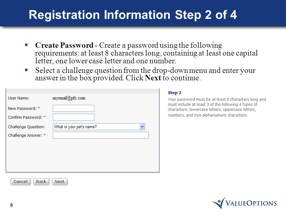 10 Registration Information Step 3 of 4  Account Information Step 3 of 4  Enter an Account Name to identify the receiving account.