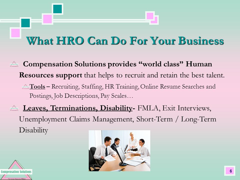 6 Compensation Solutions provides world class Human Resources support that helps to recruit and retain the best talent.