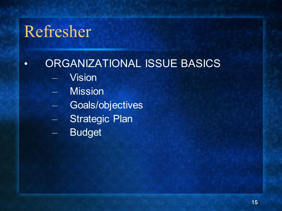 15 Refresher ORGANIZATIONAL ISSUE BASICS – Vision – Mission – Goals/objectives – Strategic Plan – Budget
