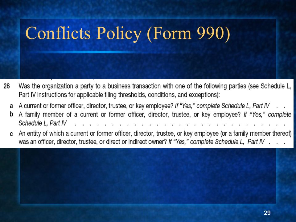 29 Conflicts Policy (Form 990)