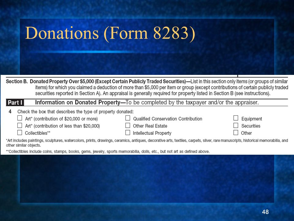 48 Donations (Form 8283)
