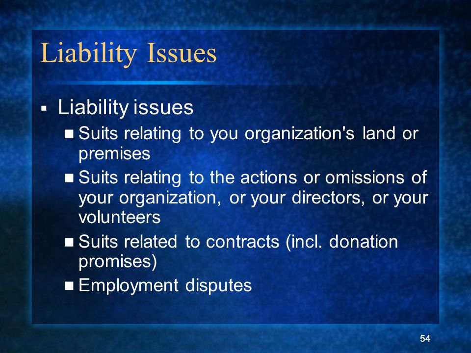 54 Liability Issues  Liability issues Suits relating to you organization's land or premises Suits relating to the actions or omissions of your organi