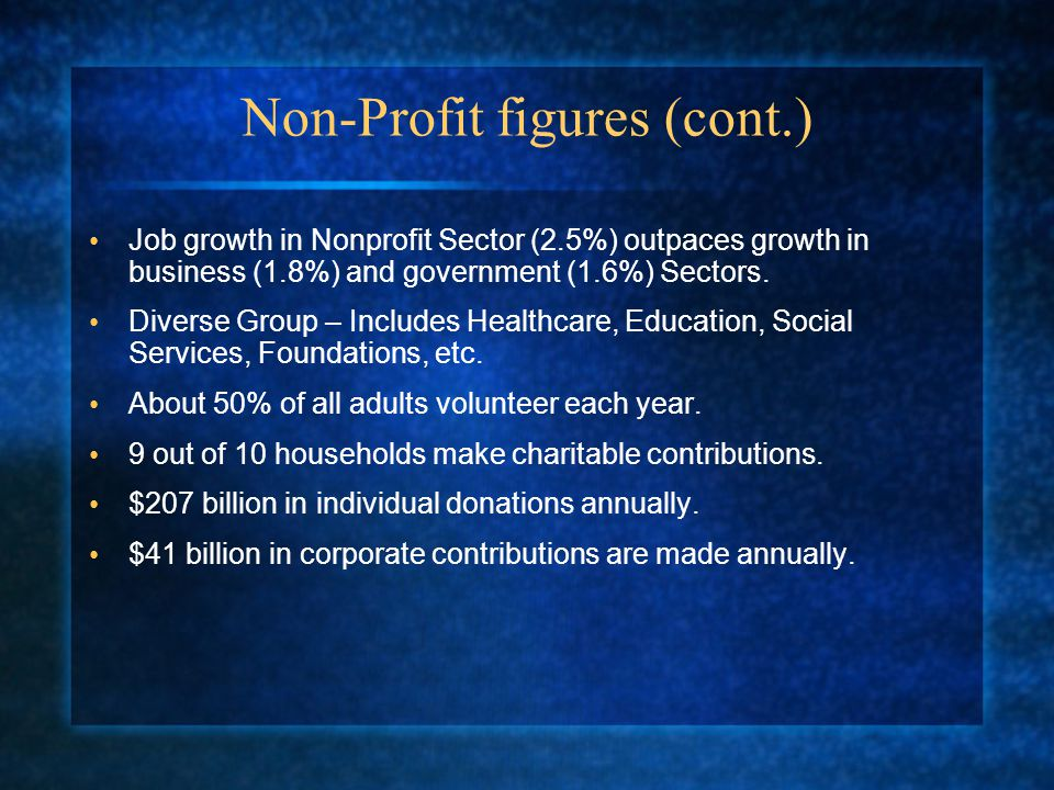 Non-Profit figures (cont.) Job growth in Nonprofit Sector (2.5%) outpaces growth in business (1.8%) and government (1.6%) Sectors.