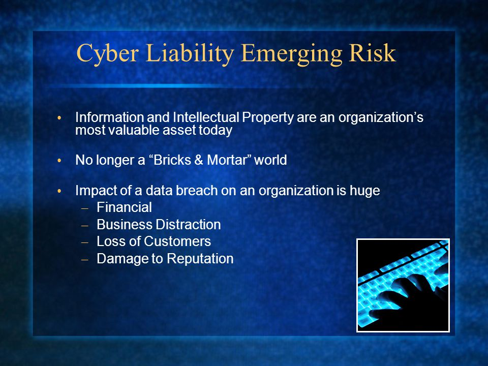 Cyber Liability Emerging Risk Information and Intellectual Property are an organization's most valuable asset today No longer a Bricks & Mortar world Impact of a data breach on an organization is huge – Financial – Business Distraction – Loss of Customers – Damage to Reputation