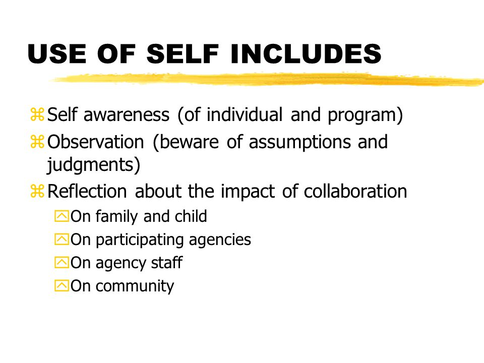 USE OF SELF INCLUDES zSelf awareness (of individual and program) zObservation (beware of assumptions and judgments) zReflection about the impact of collaboration yOn family and child yOn participating agencies yOn agency staff yOn community