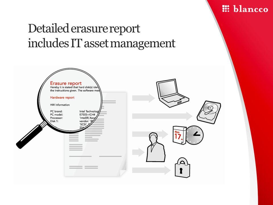 Detailed erasure report includes IT asset management