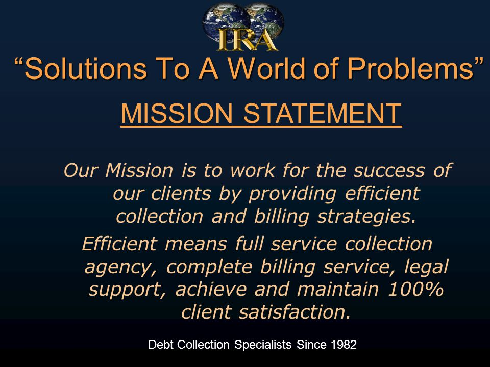 International Recovery Associates continues to be our top performing agency, year after year.