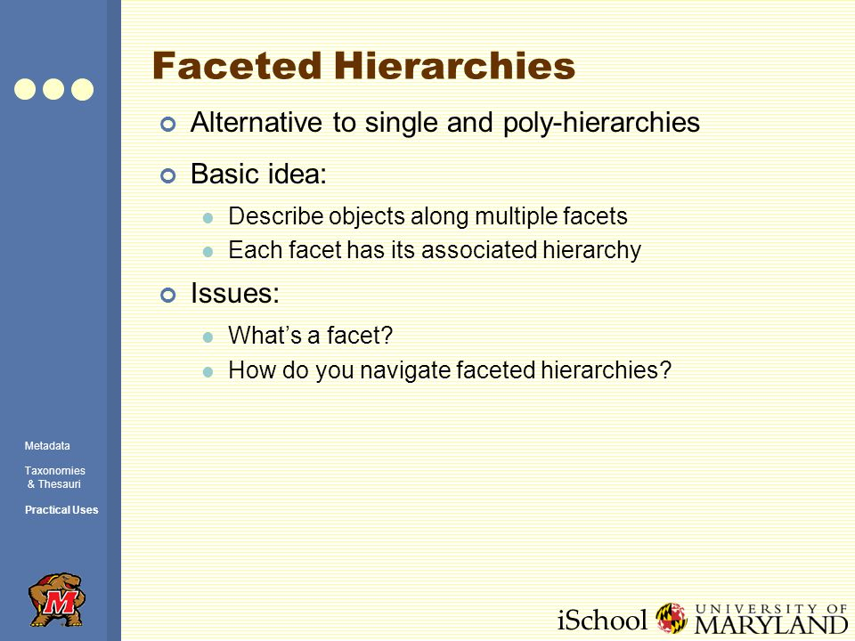 iSchool Faceted Hierarchies Alternative to single and poly-hierarchies Basic idea: Describe objects along multiple facets Each facet has its associated hierarchy Issues: What's a facet.