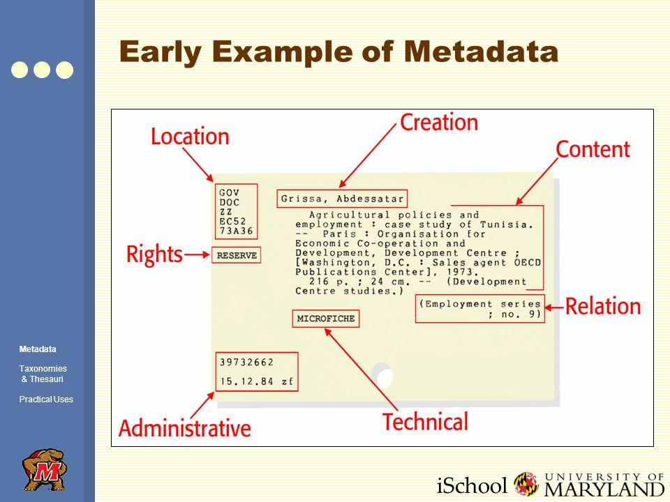 iSchool Del.icio.us – related tags Metadata Taxonomies & Thesauri Practical Uses