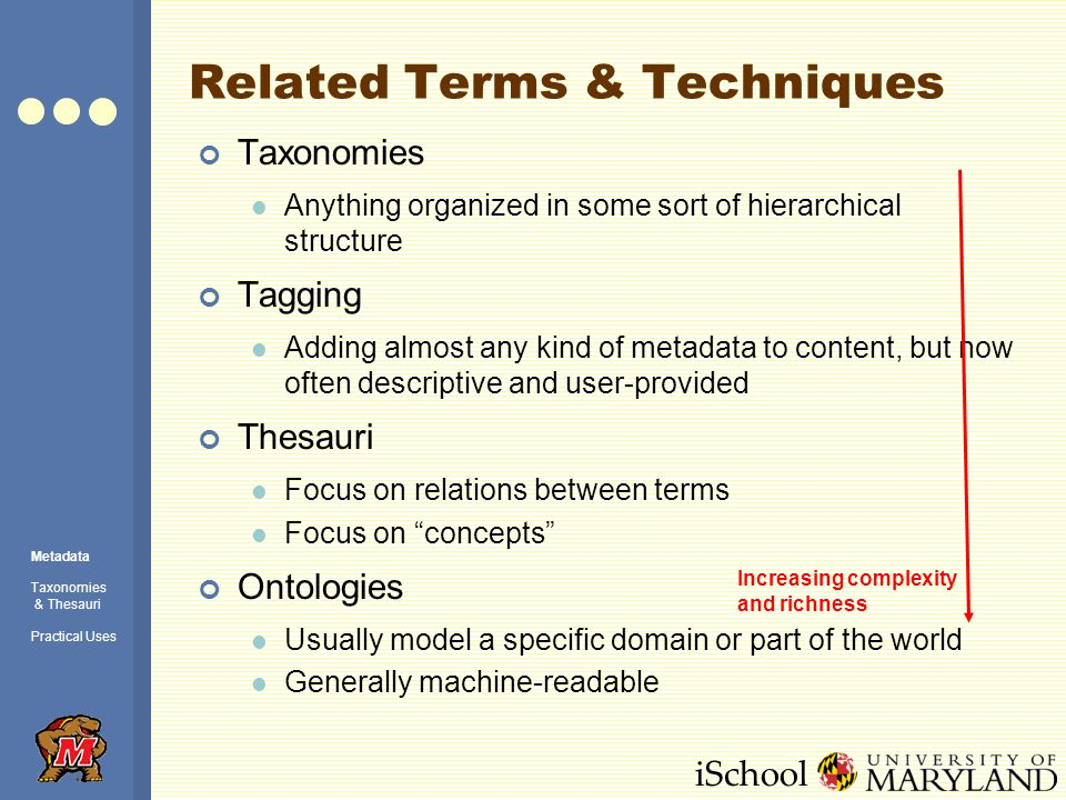 iSchool Related Terms & Techniques Taxonomies Anything organized in some sort of hierarchical structure Tagging Adding almost any kind of metadata to content, but now often descriptive and user-provided Thesauri Focus on relations between terms Focus on concepts Ontologies Usually model a specific domain or part of the world Generally machine-readable Increasing complexity and richness Metadata Taxonomies & Thesauri Practical Uses