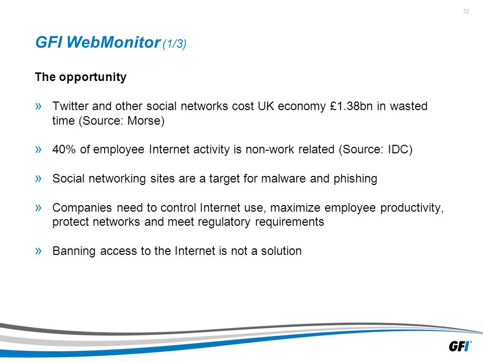 32 GFI WebMonitor (1/3) The opportunity » Twitter and other social networks cost UK economy £1.38bn in wasted time (Source: Morse) » 40% of employee Internet activity is non-work related (Source: IDC) » Social networking sites are a target for malware and phishing » Companies need to control Internet use, maximize employee productivity, protect networks and meet regulatory requirements » Banning access to the Internet is not a solution