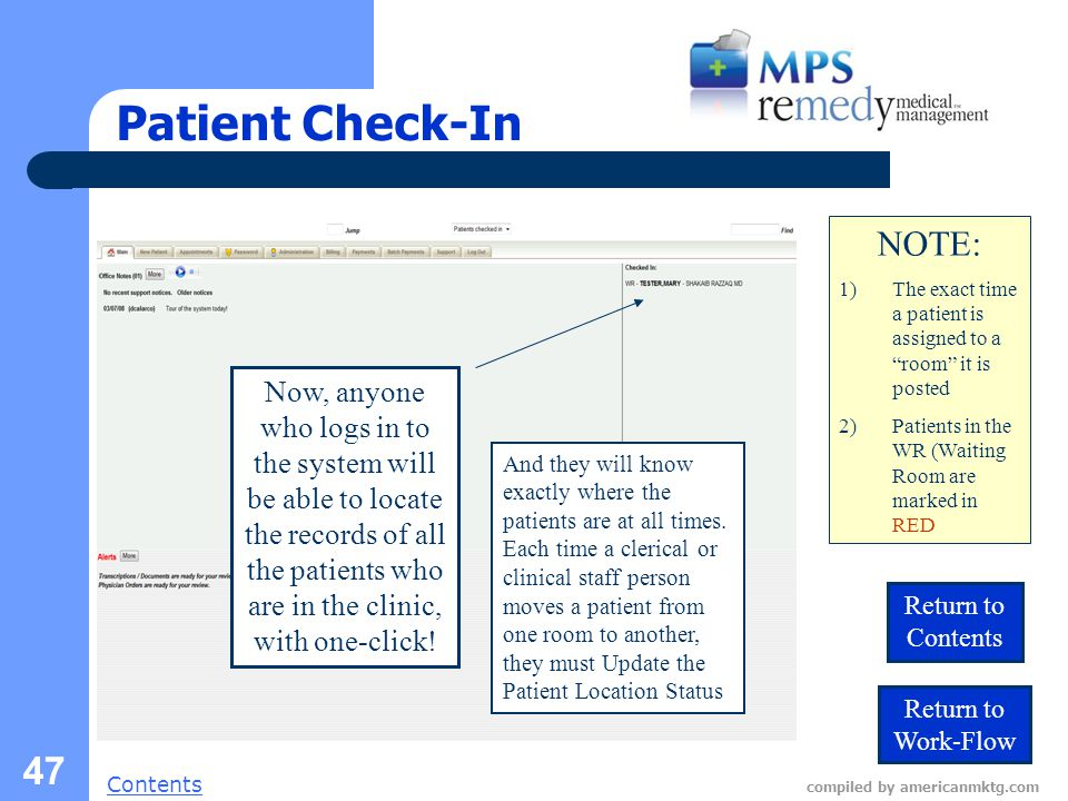 Next Slide Contents compiled by americanmktg.com 47 Patient Check-In Now, anyone who logs in to the system will be able to locate the records of all the patients who are in the clinic, with one-click.