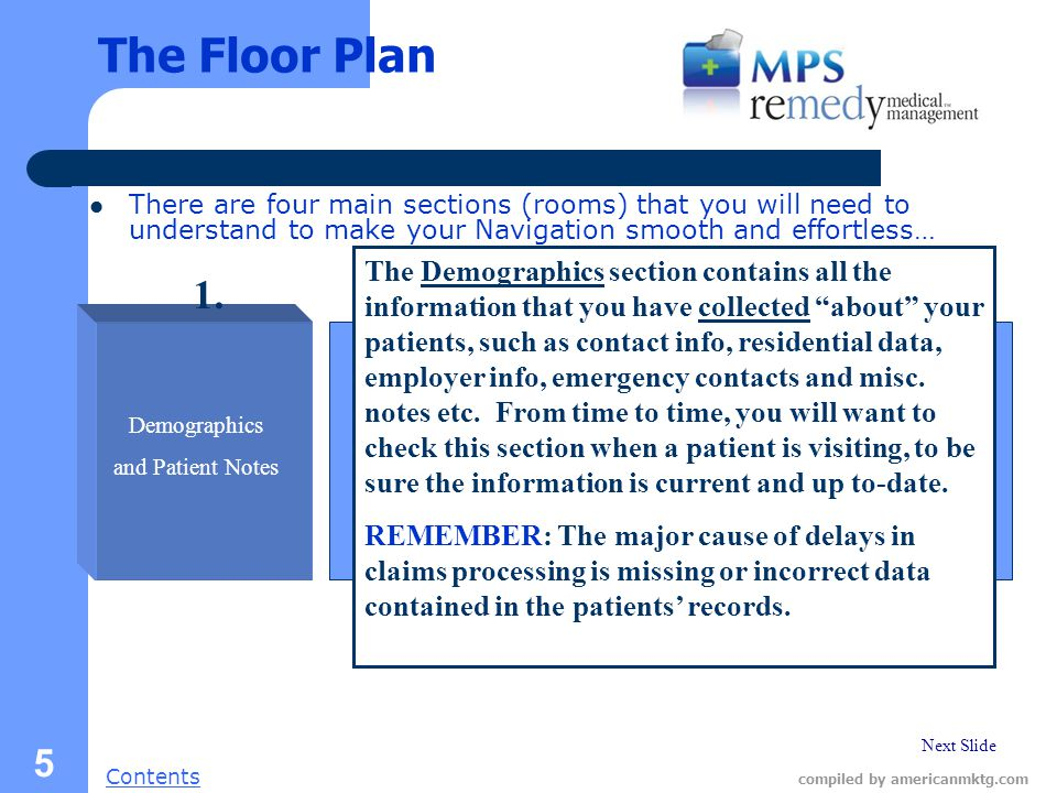 Next Slide Contents compiled by americanmktg.com 5 The Floor Plan There are four main sections (rooms) that you will need to understand to make your Navigation smooth and effortless… Demographics and Patient Notes The Demographics section contains all the information that you have collected about your patients, such as contact info, residential data, employer info, emergency contacts and misc.
