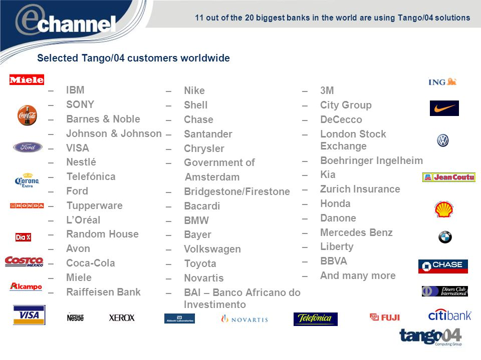 11 out of the 20 biggest banks in the world are using Tango/04 solutions Selected Tango/04 customers worldwide –IBM –SONY –Barnes & Noble –Johnson & J